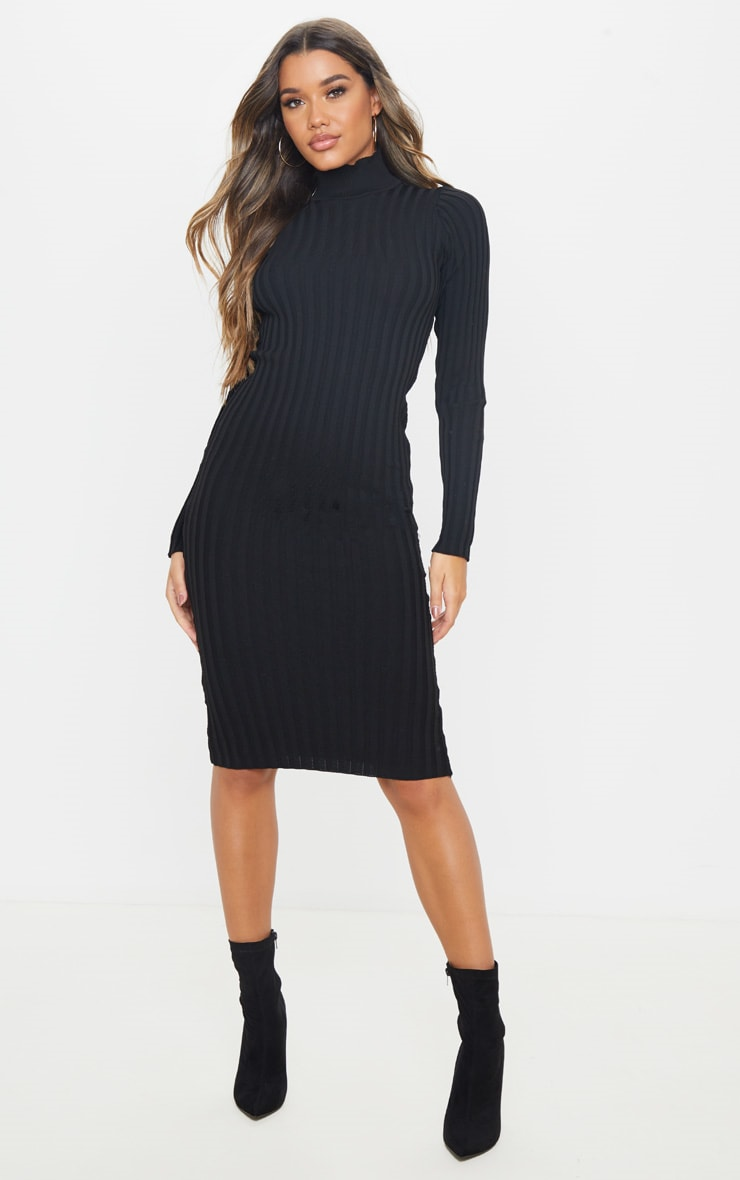 Black Stretch Knitted Bodycon Midi Dress 1