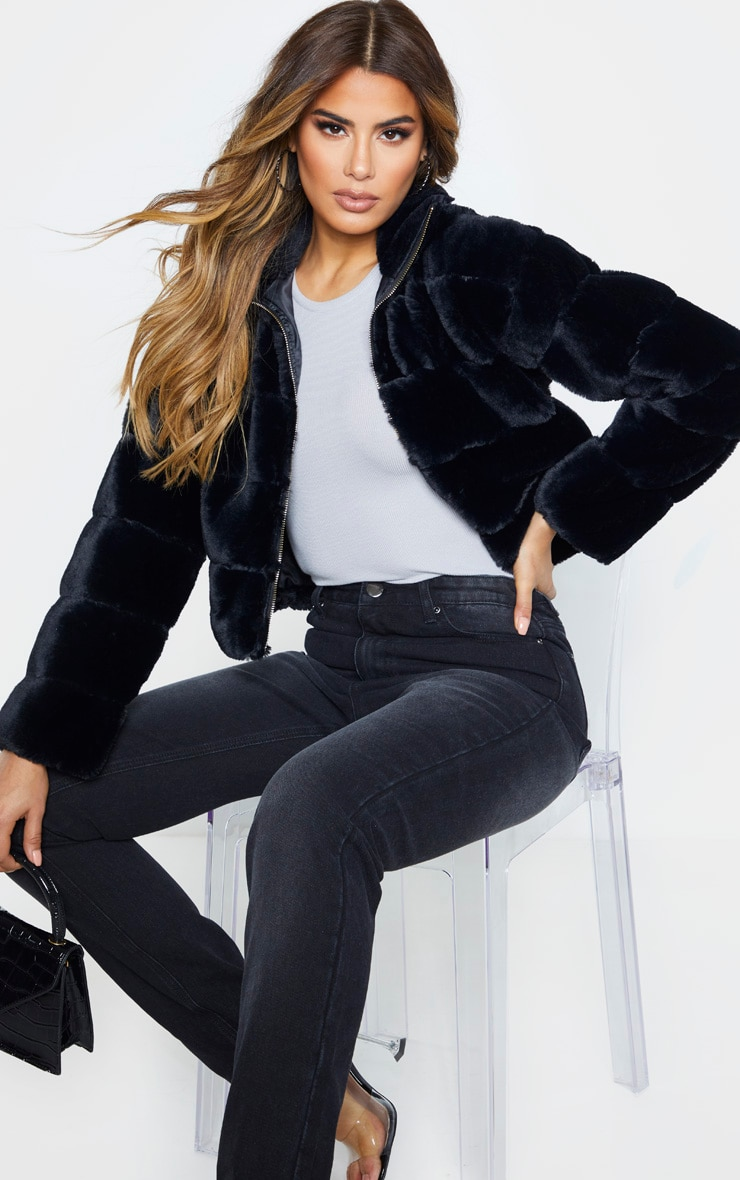 Tall Black Faux Fur Bomber Jacket 1