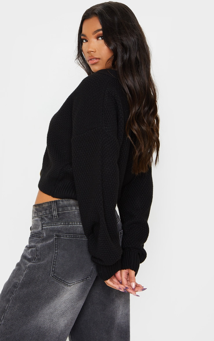 Black Chunky Knit Button Down Cropped Cardigan 2