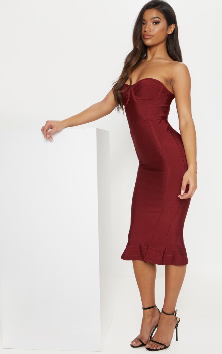 Dark Red Bandage Frill Hem Midi Dress 4