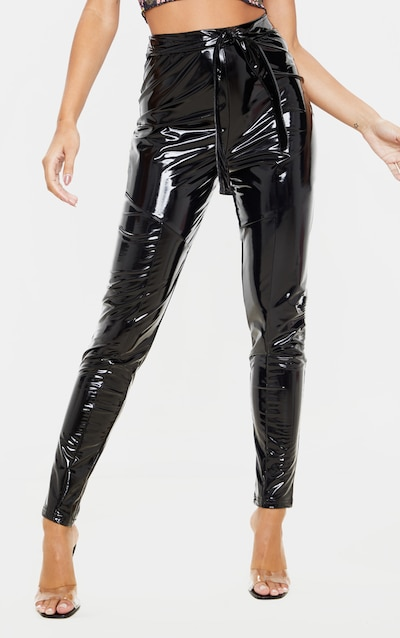 Black Vinyl Belted Tapered Trouser