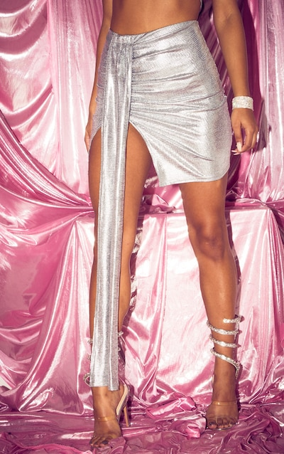 Silver Textured Glitter Ruched Front Tie Mini Skirt