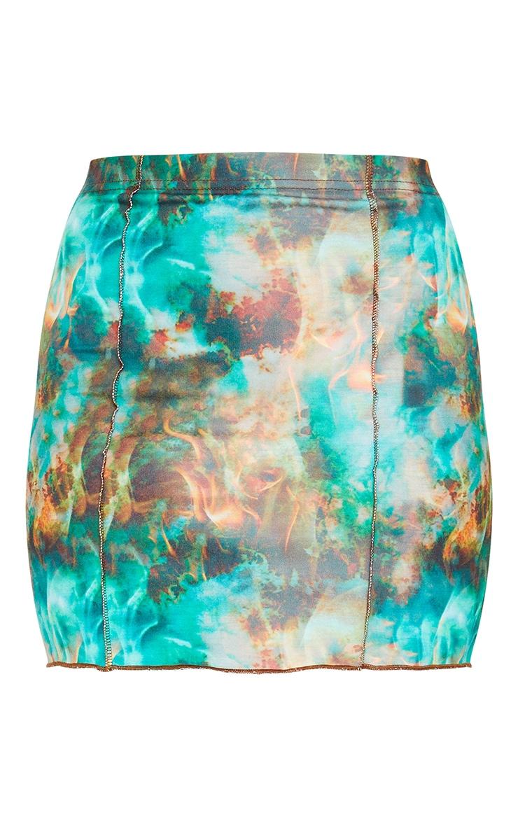 Green Flame Contrast Seam Mini Skirt 6