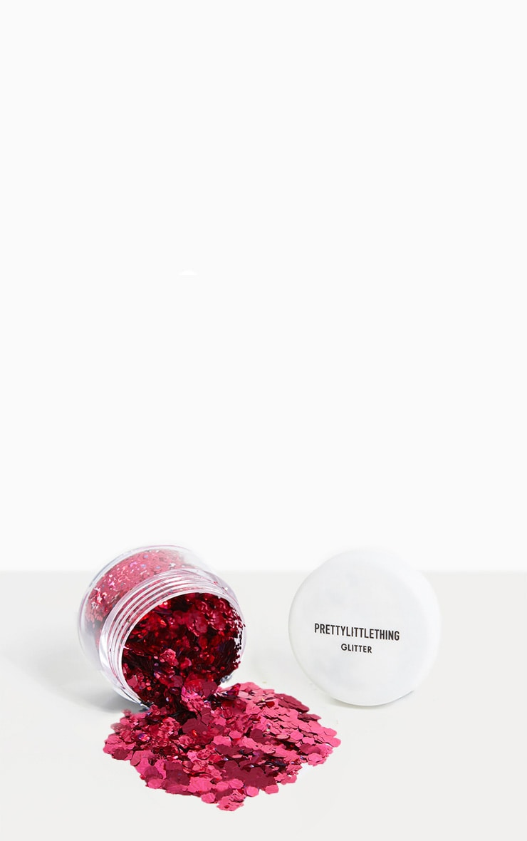 PRETTYLITTLETHING Chunky Pink Glitter Pot 1