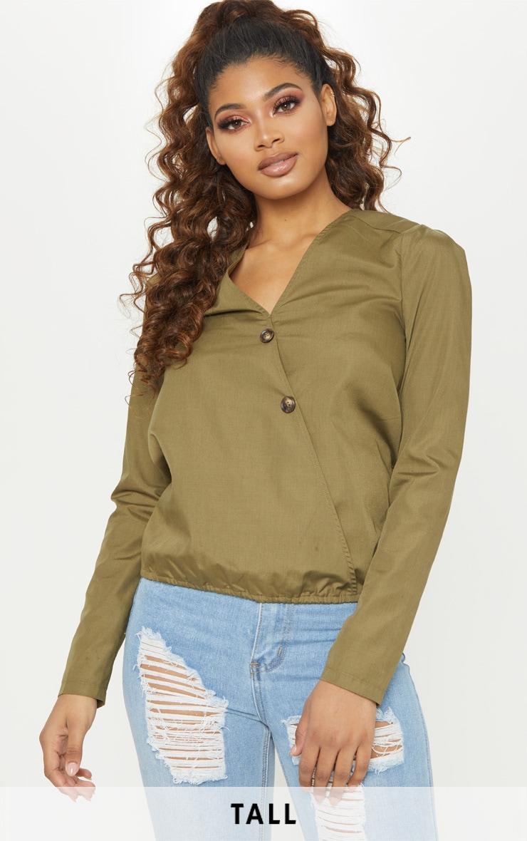 Tall Khaki Woven Button Front Blouse 1