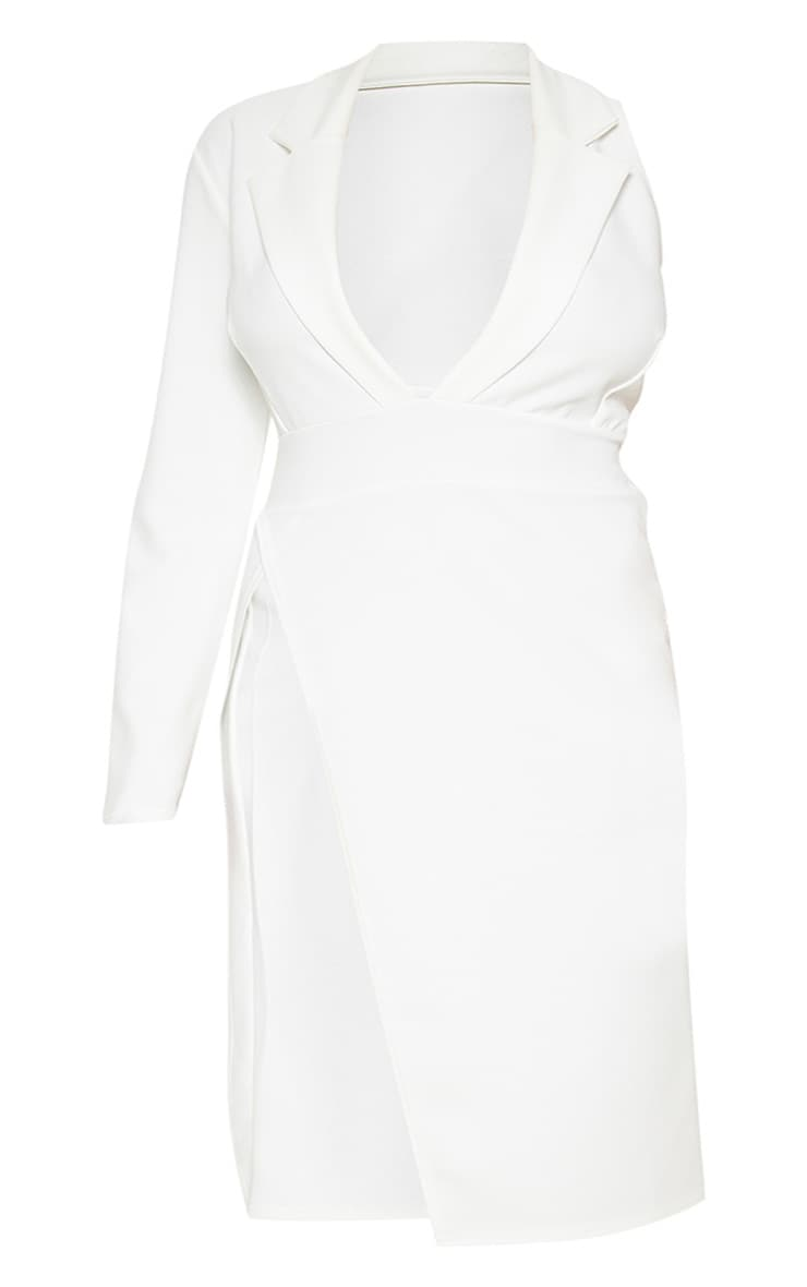 Plus White Extreme Split Midi Blazer Dress 3