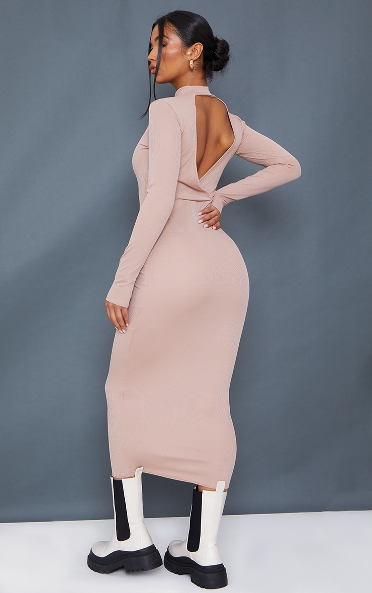 Stone Rib Wrap Open Back High Neck Midaxi Dress 2