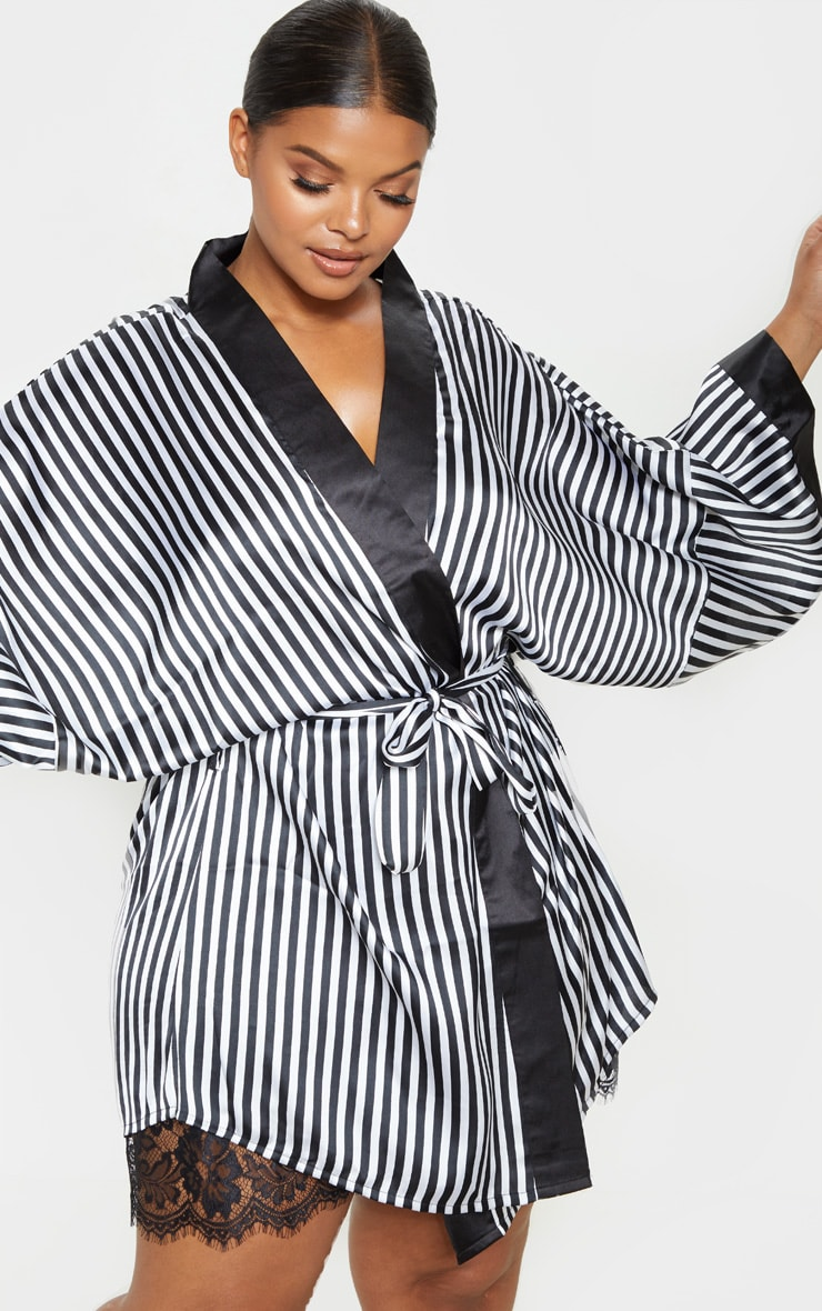 PRETTYLITTLETHING Plus Black Striped Satin Robe 2