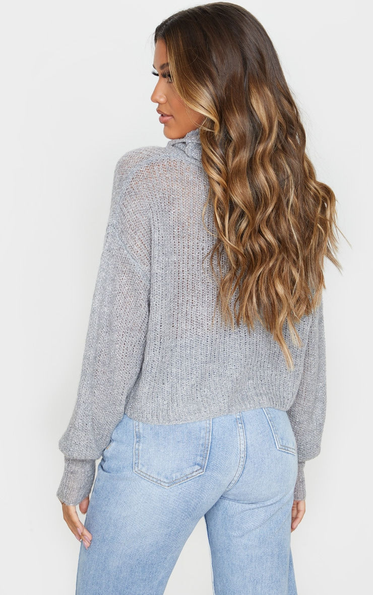 Grey Roll Neck With Sparkle Jumper 2