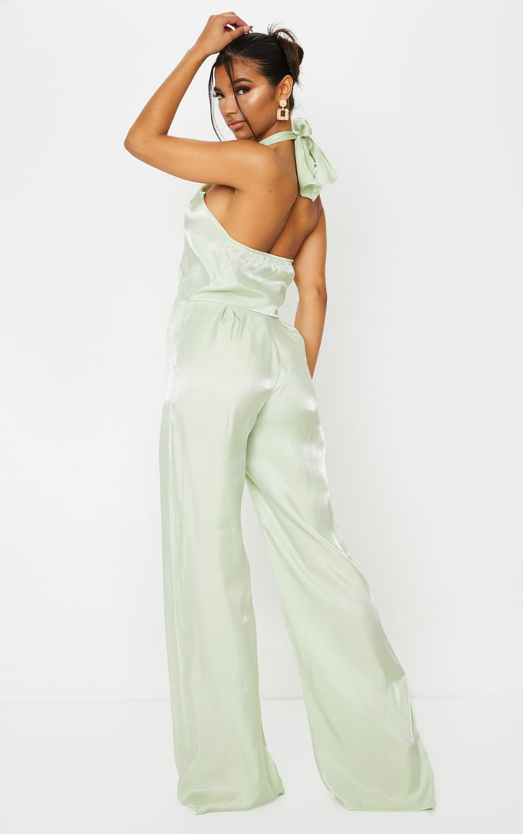 Sage Green Knot Halterneck Shimmer Jumpsuit 2