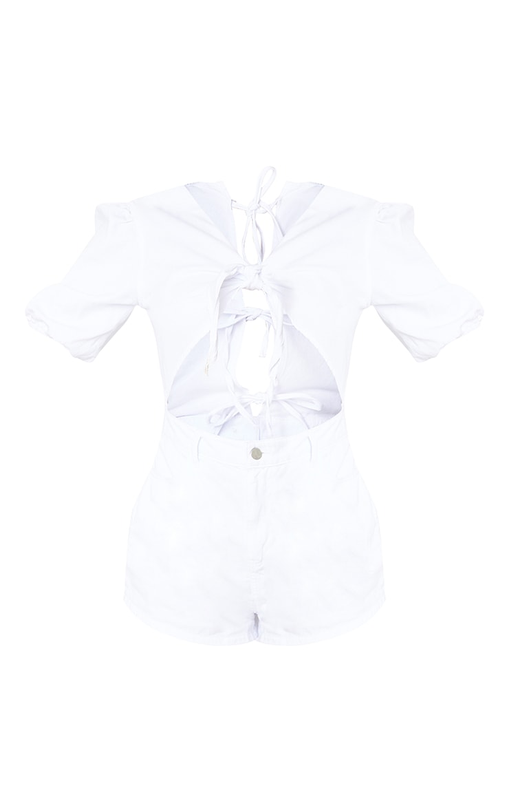 White Cut Out Front Denim Playsuit 3
