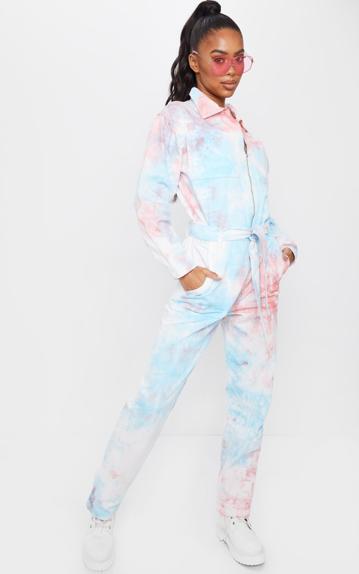 Multi Tie Dye Oversized Denim Jumpsuit 3