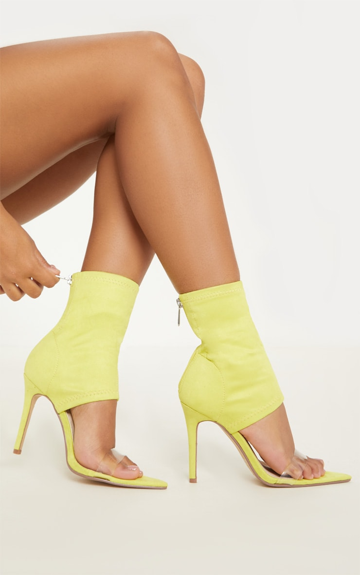 Yellow Point Toe Lycra Sock Boot 2