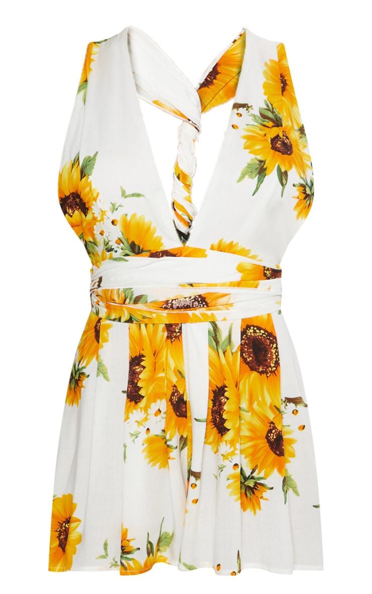 White Sun Flower Tie Waist Romper 4