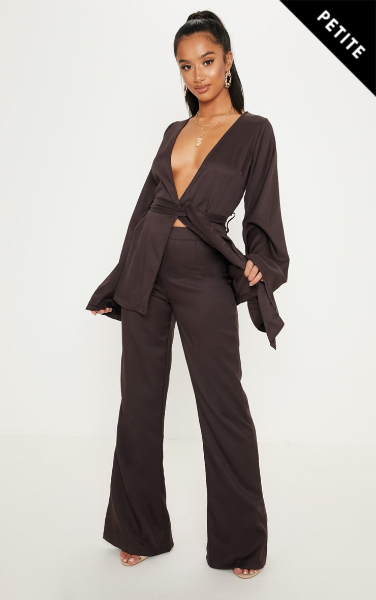 Petite Chocolate Brown Wide Leg Suit Trousers