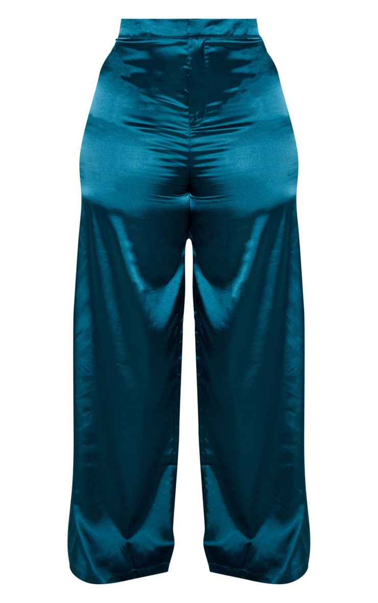 Plus Teal Satin Wide Leg Pants 3