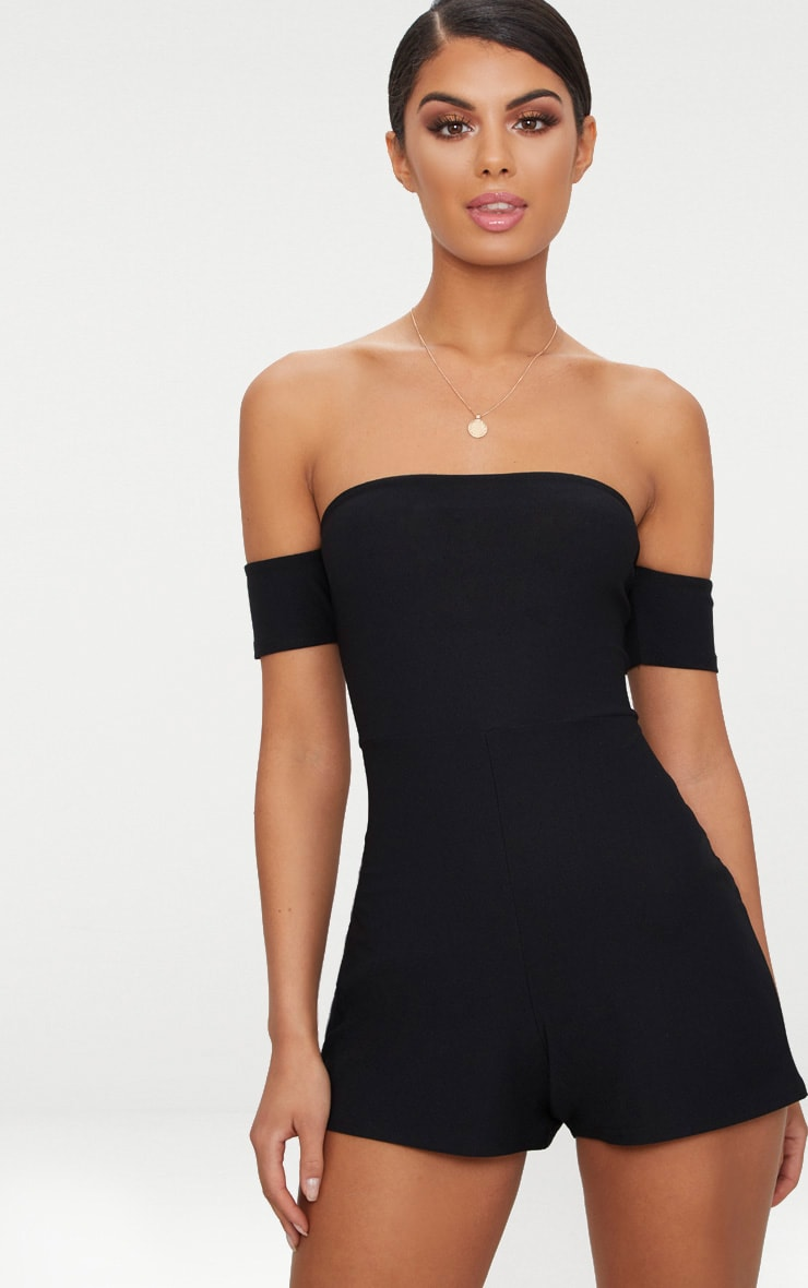 Black Crepe Short Sleeve Bardot Playsuit 1
