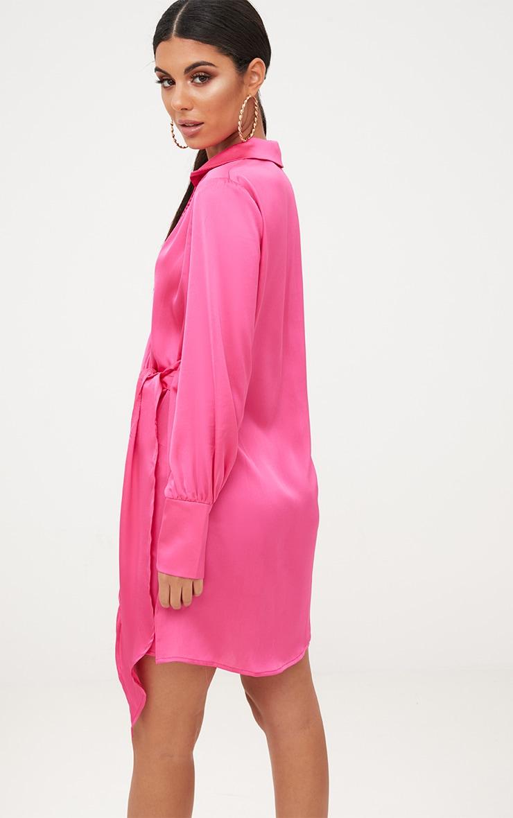 Hot Pink Satin Deep Cuff Wrap Front Shift Dress 2