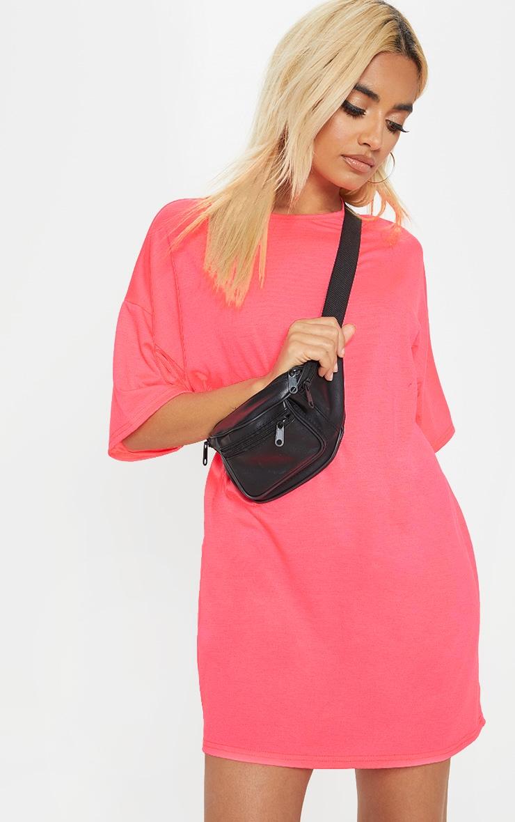 Petite Neon Pink  Oversized T Shirt Dress 4