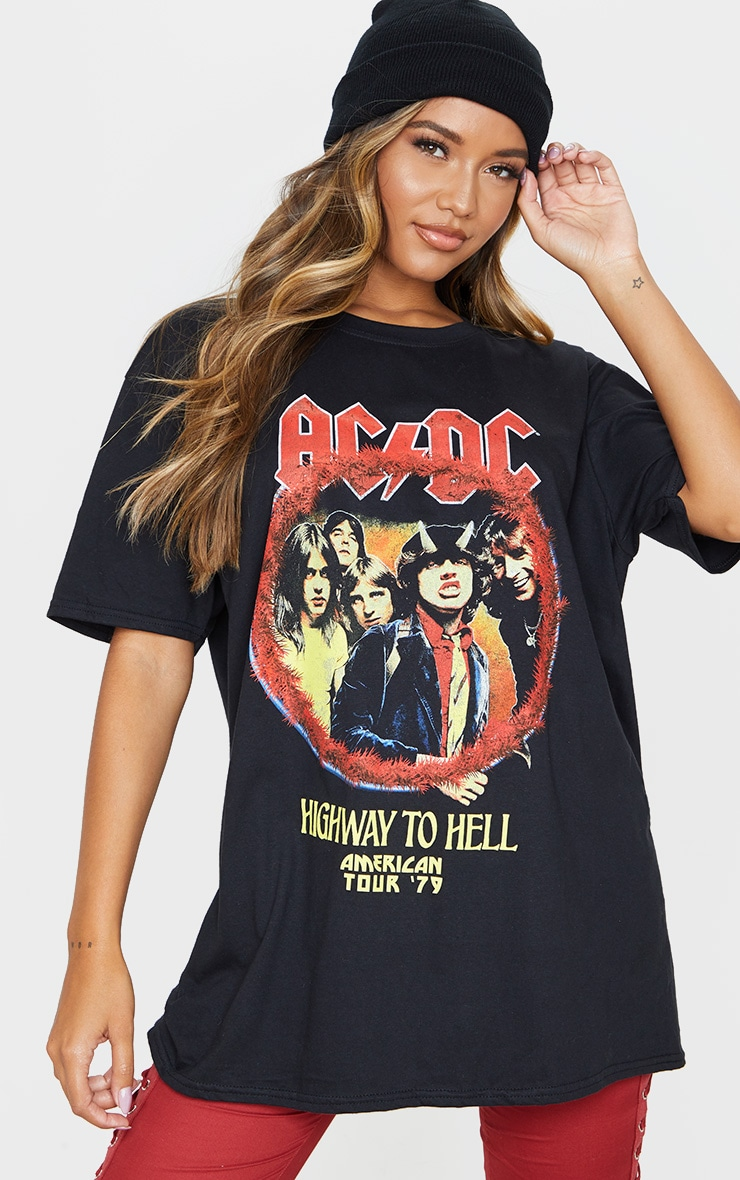 Black ACDC Tour Dates Oversized T Shirt 1