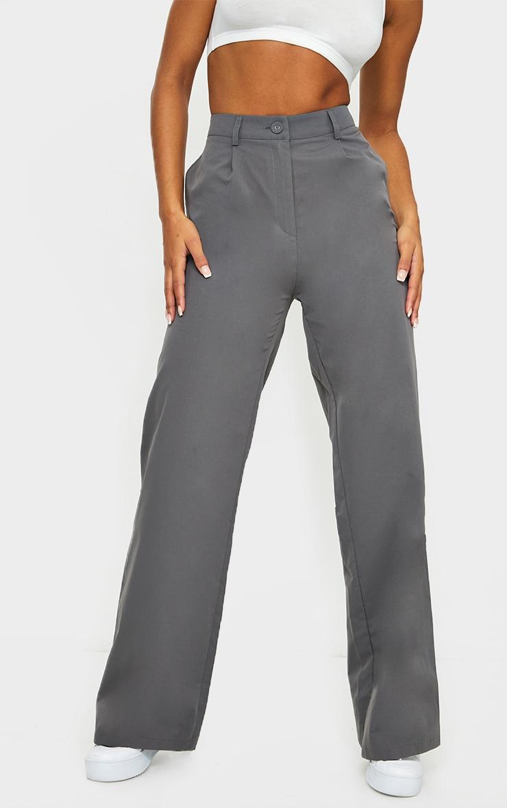 Charcoal Peach Skin Straight Leg Pants 2