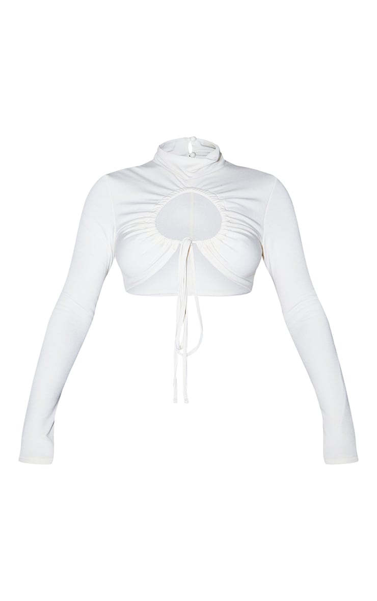 Recycled Cream Contour Jersey Ruched Keyhole Tie Detail Long Sleeve Crop Top 5