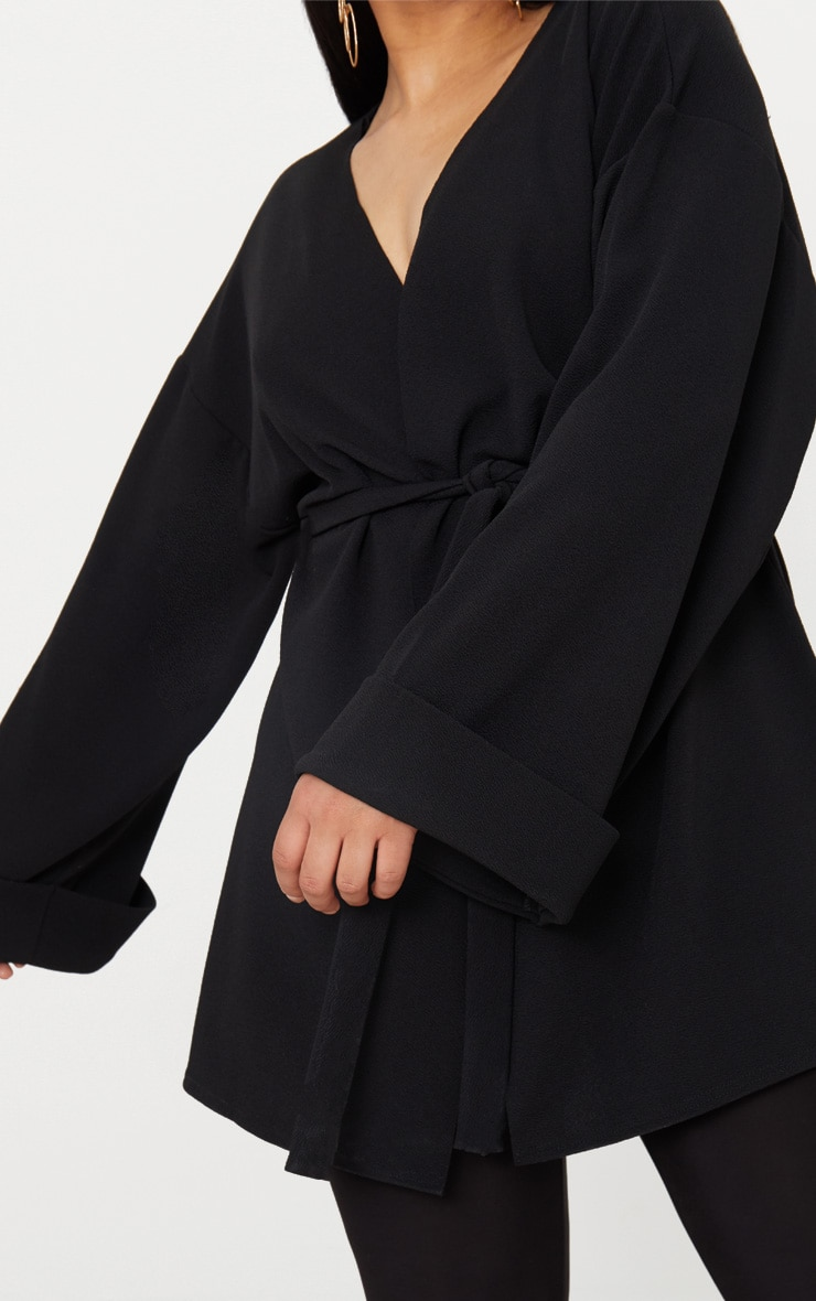 Plus Black Belted Oversized Sleeve Blazer 5