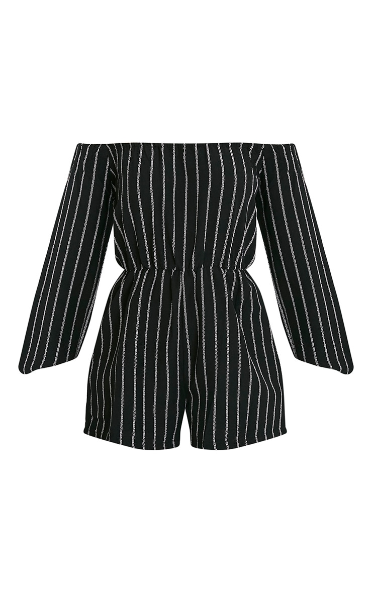 Kennie Monochrome Striped Bardot Romper 3