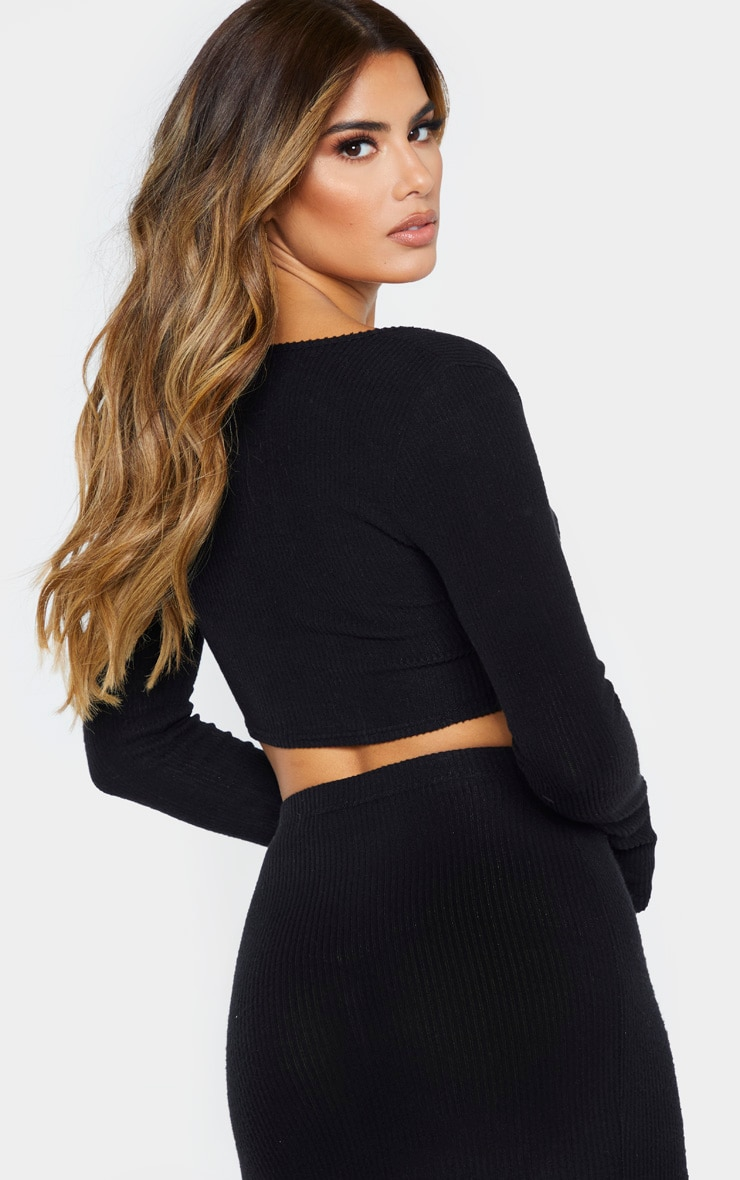 Tall Black Brush Rib Long Sleeve Crop Top 2