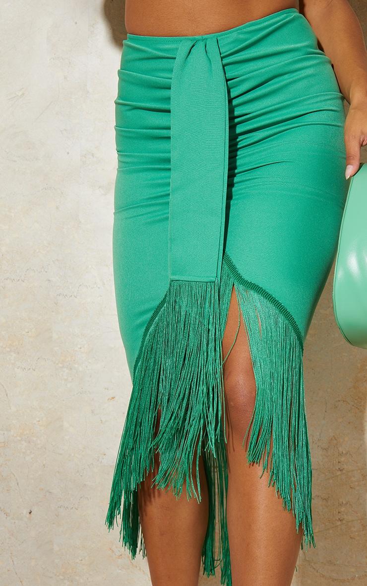Bright Green Tassel Hem Midi Skirt 4