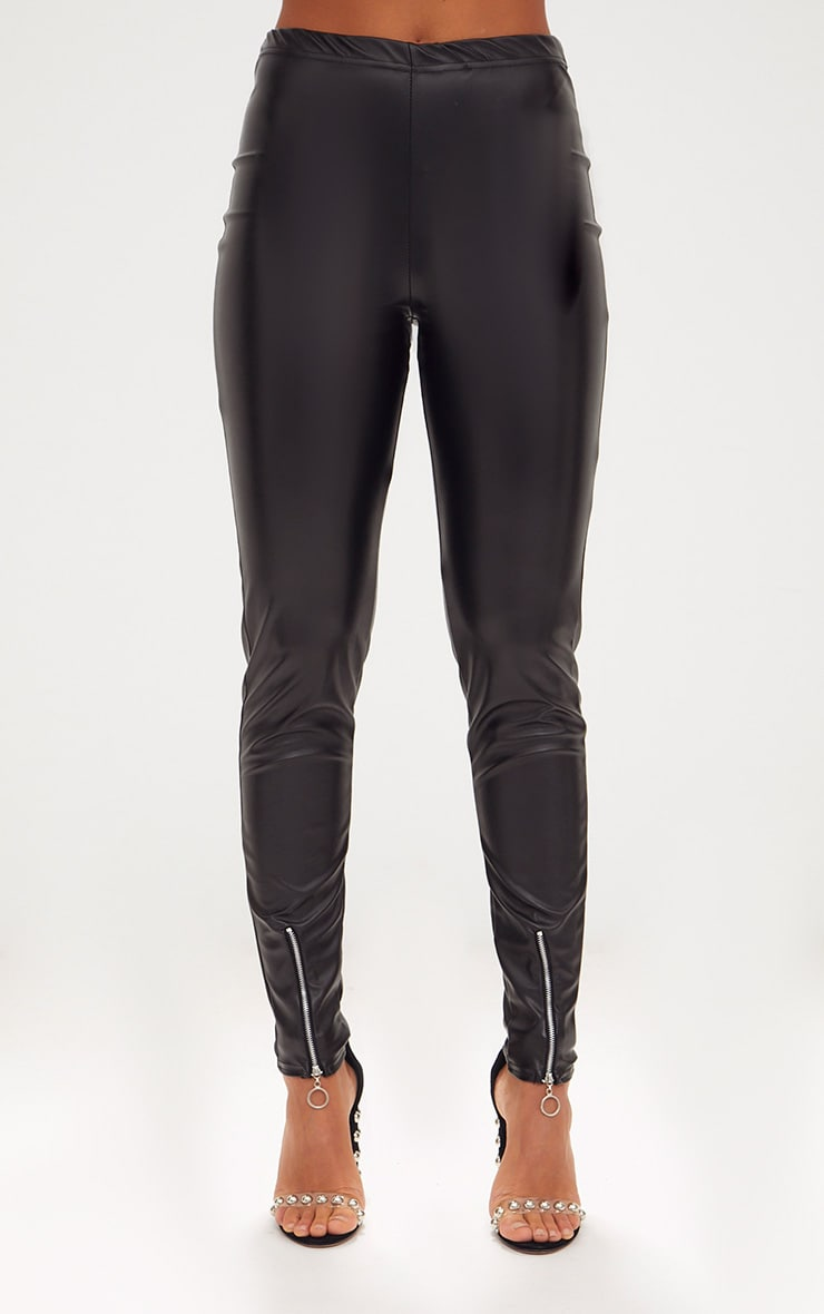 Black Faux Leather Zip Front Legging 2