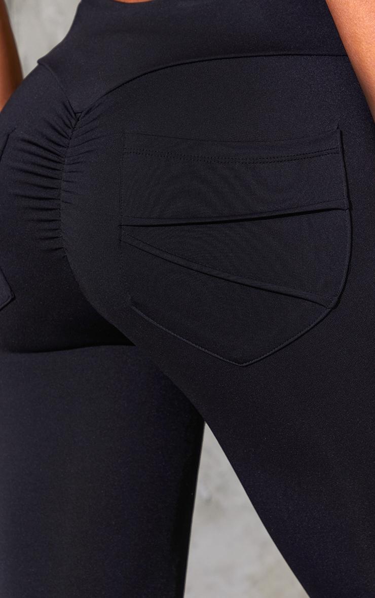 Black Ruched Pocket Bum Gym Legging 4