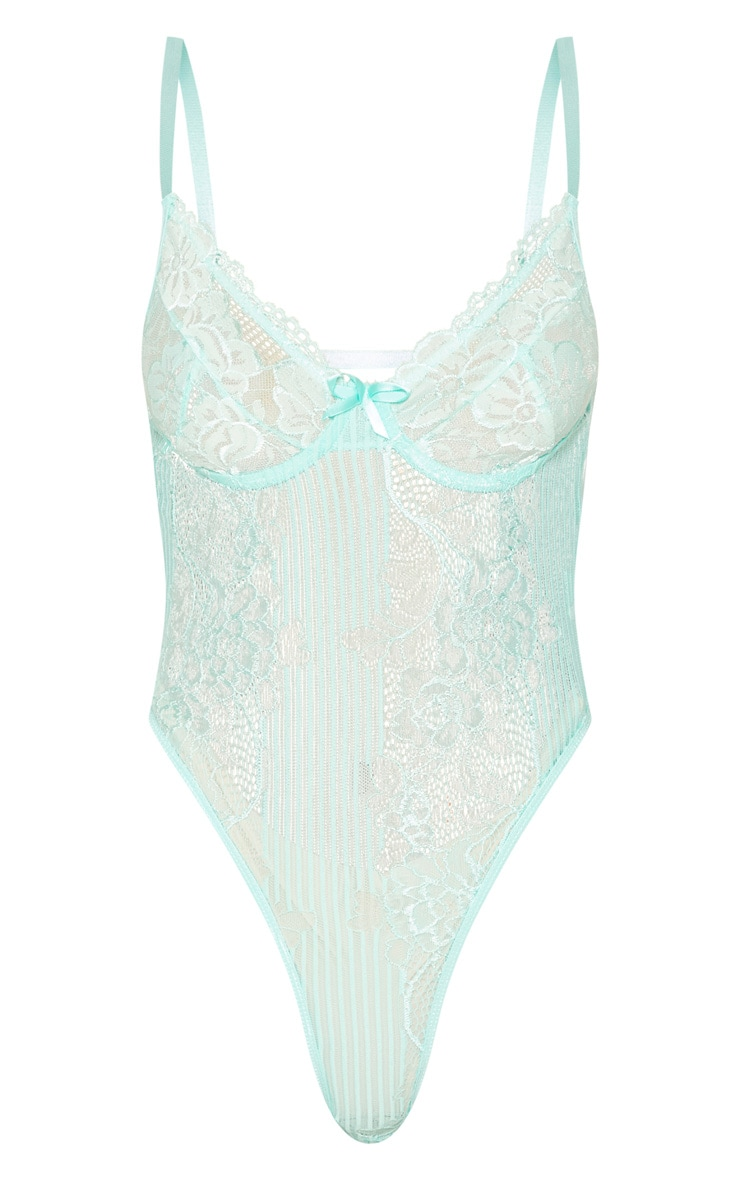 Mint Lace Insert High Leg Cupped Body 7