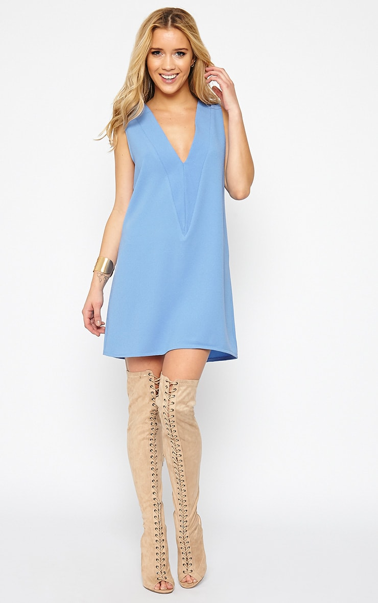 Haelyn Blue Plunge V Shape Loose Fit Binding Dress 3