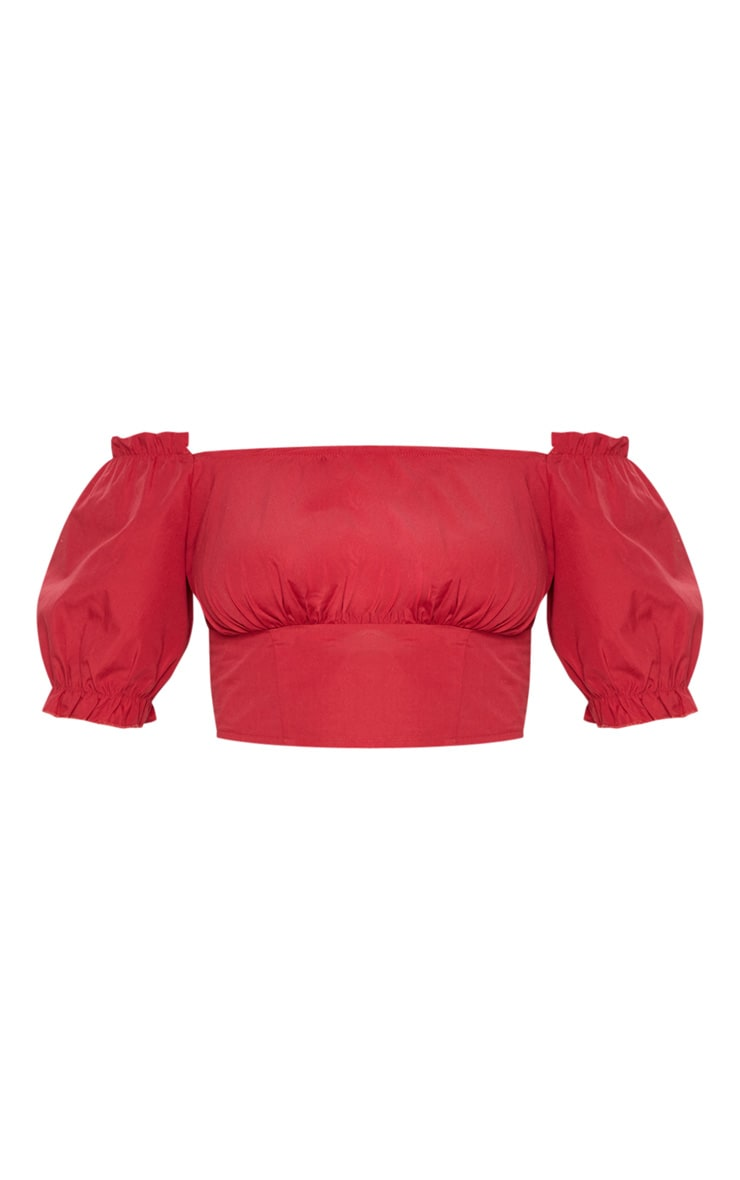 Red Bardot Puff Sleeve Ruched Crop Top 3