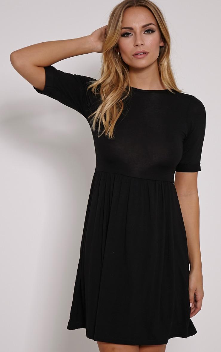884605788bb3 Basic Black 3 4 Scoop Back Jersey Skater Dress 1
