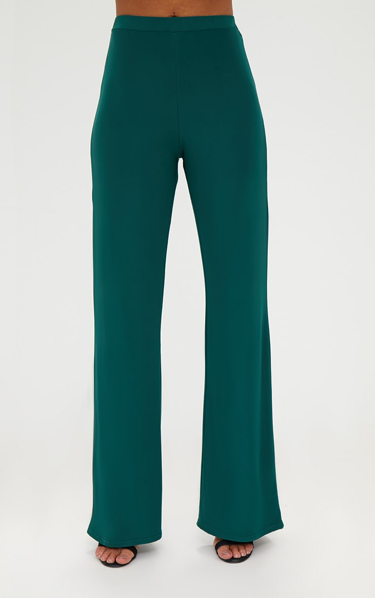 Forest Green Slinky Palazzo Trousers 2