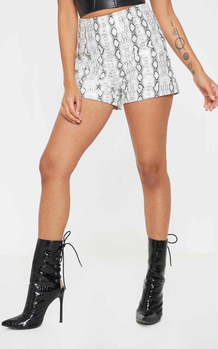 Petite Grey Snake PU High Waist Shorts 2