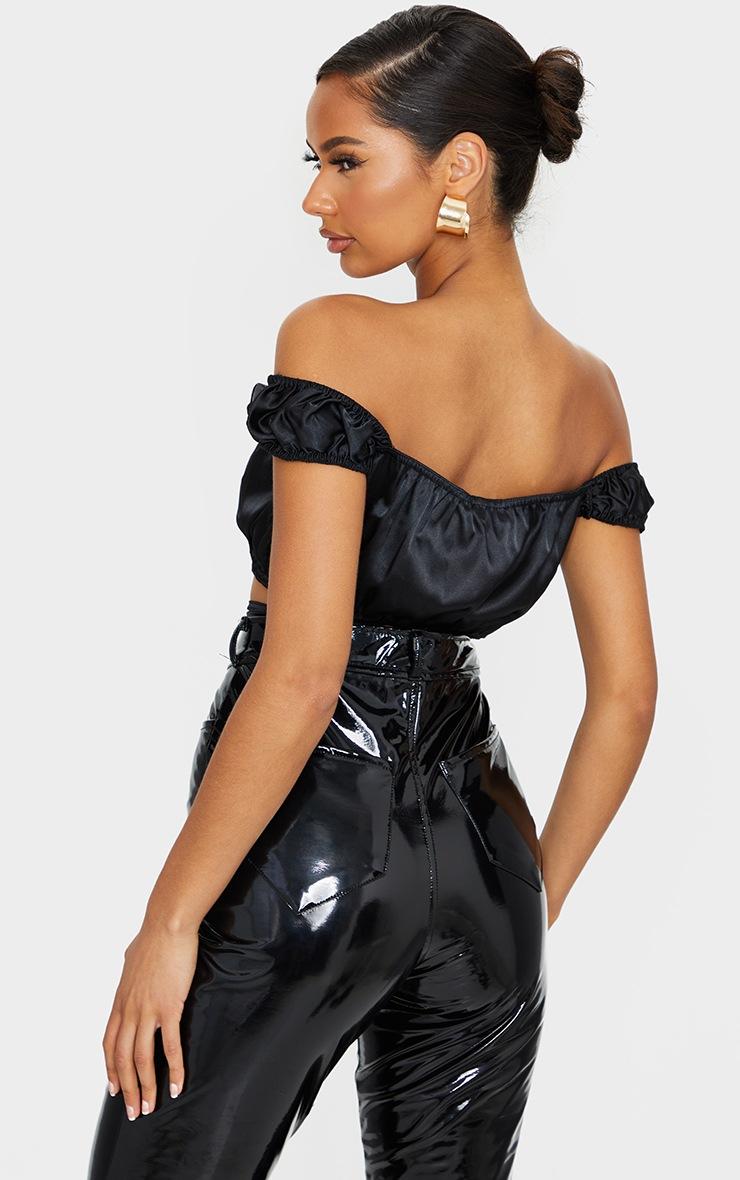 Black Satin Bardot Tie Detail Crop Top 2