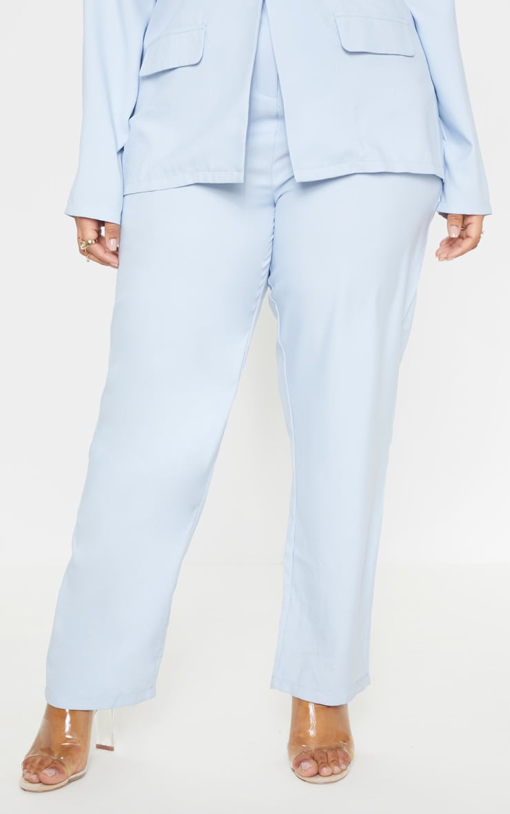Plus Dusty Blue Straight Leg Pants 2