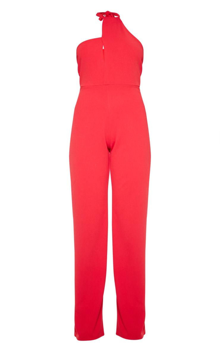 Red Asymmetric Halterneck Wide Leg Jumpsuit 3