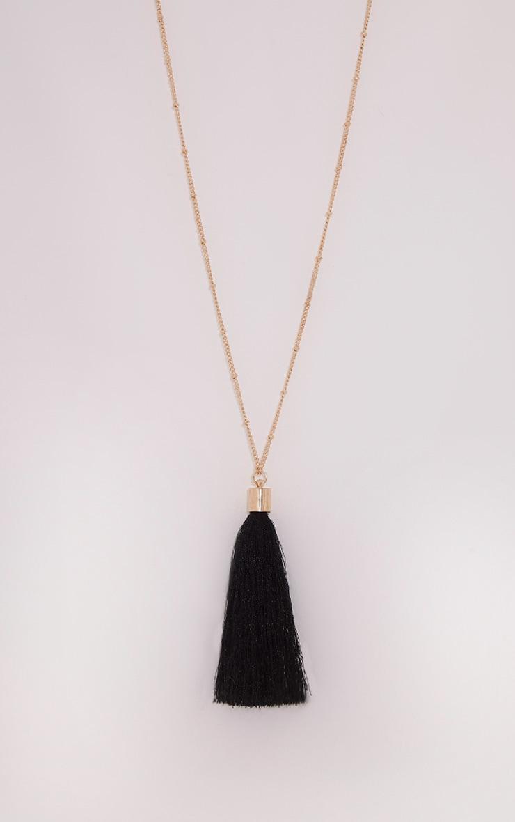 Belle Black Long Tassel Chain Necklace 4