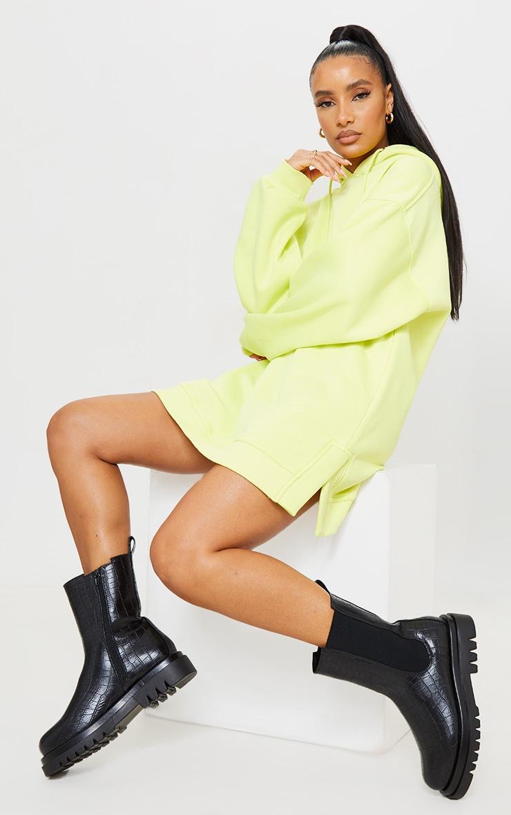 Black Croc Pu Calf High Chelsea Boots