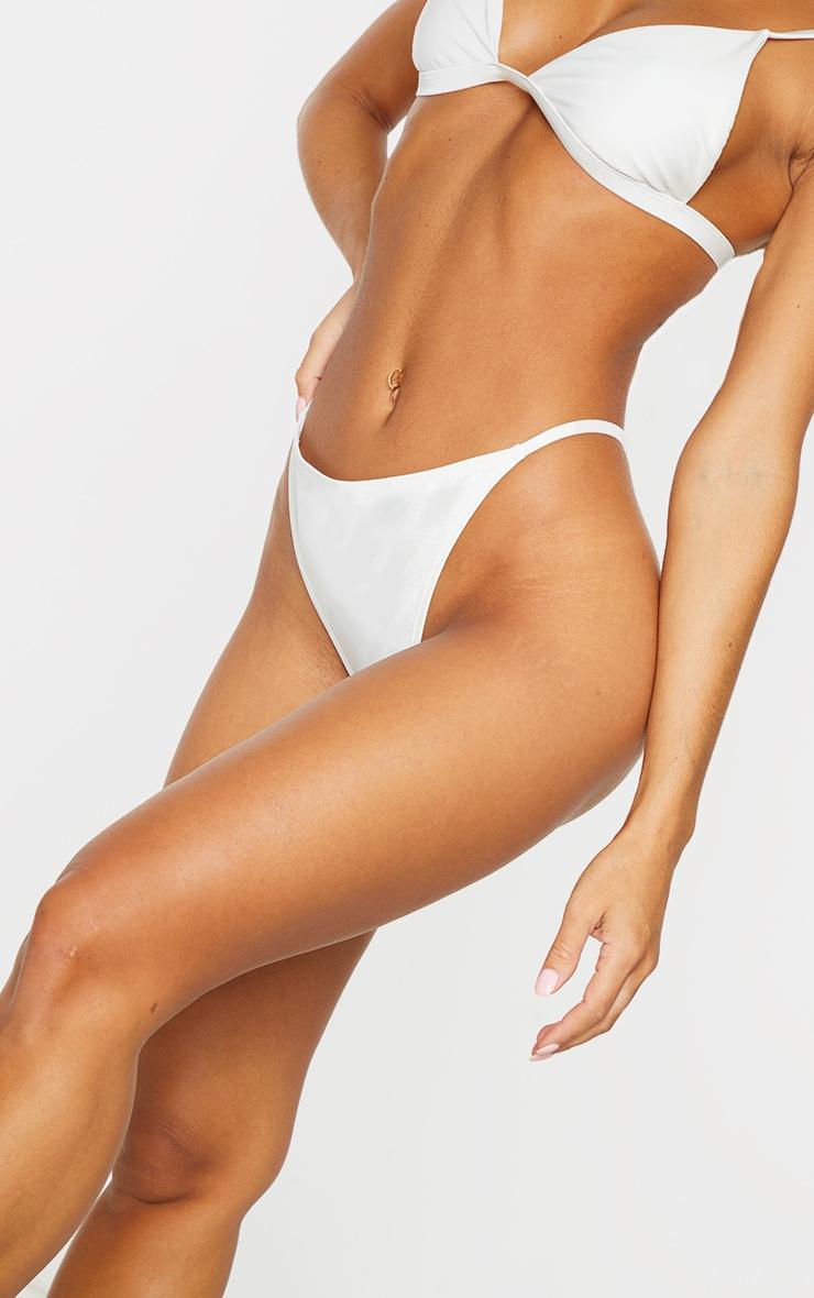 White Mix & Match Recycled Fabric String Thong Bikini Bottoms 4