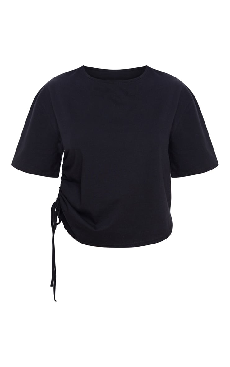 Black Ruched Side T Shirt 3