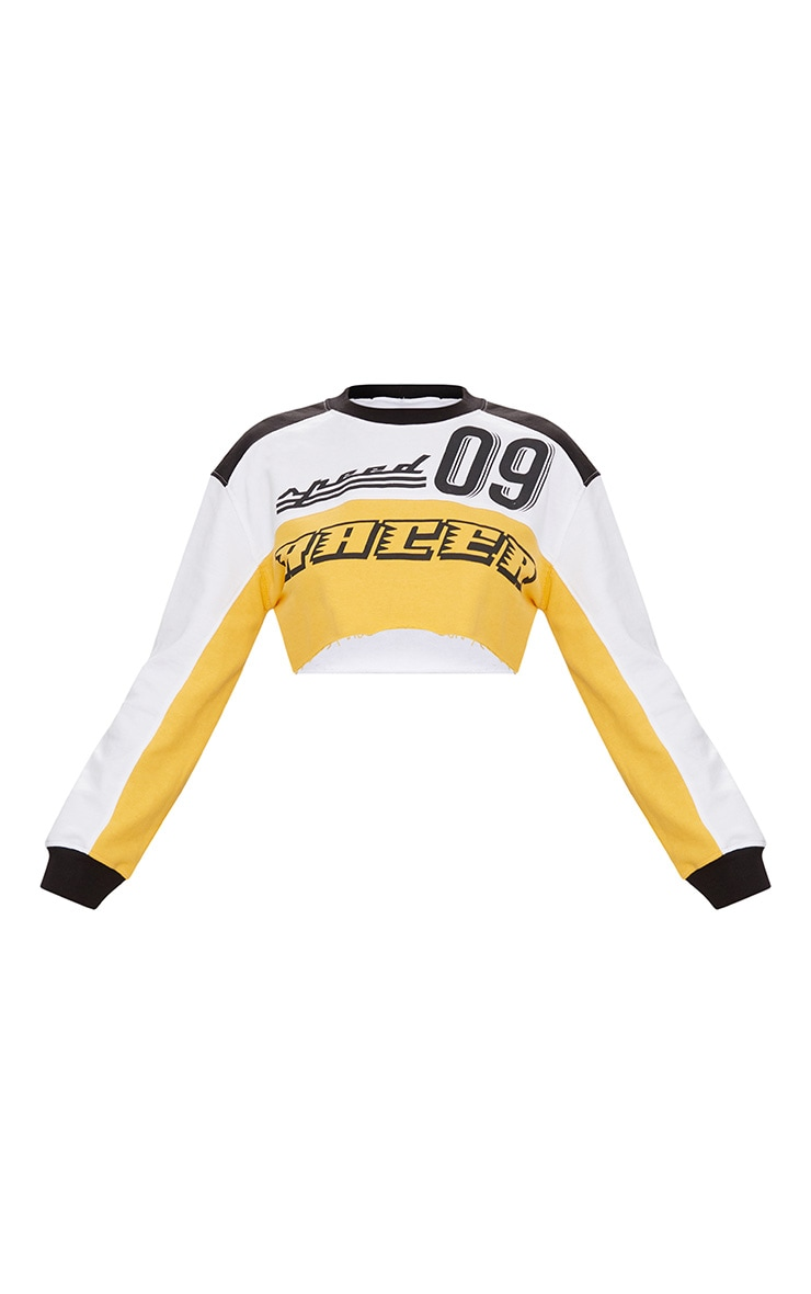 White Racer Slogan Colour Block Extreme Cropped Sweater 3