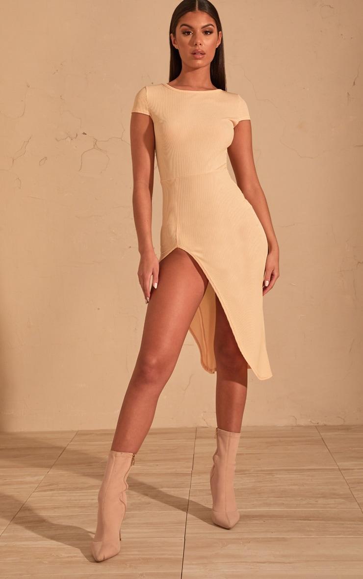 Cream Ribbed Extreme Split Cap Sleeve Midi Dress 1