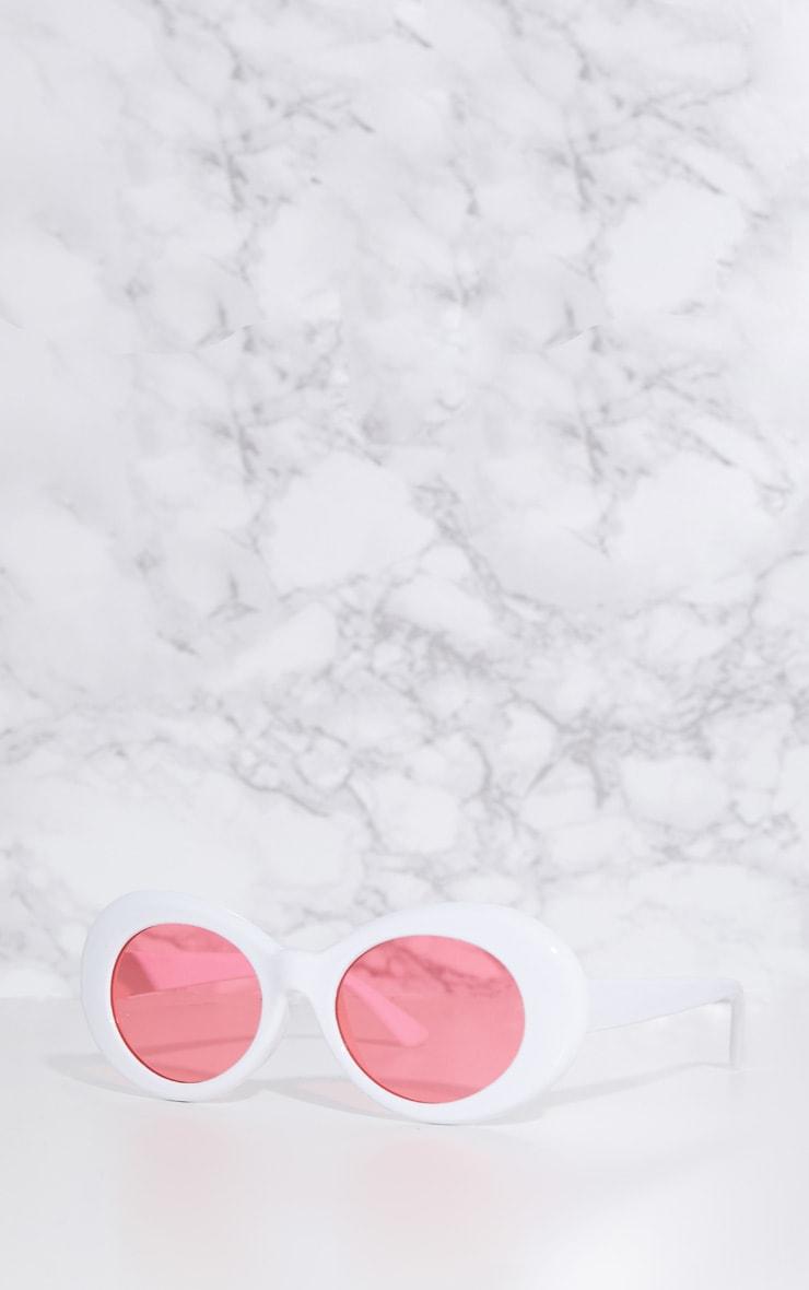 White Retro Oval Sunglasses 2