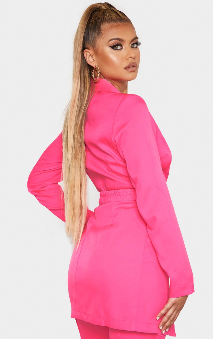 Hot Pink Double Breasted Belt Detail Blazer 2