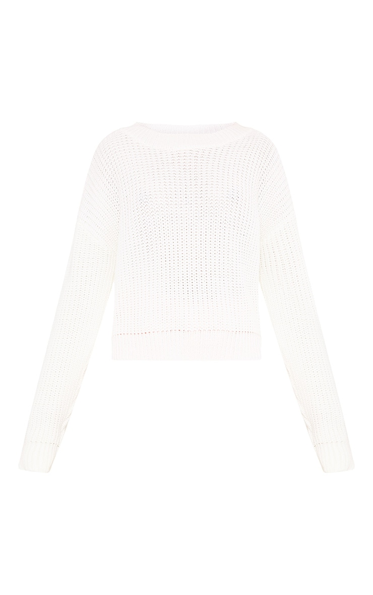 Cara Cream Cropped Knit Jumper 3